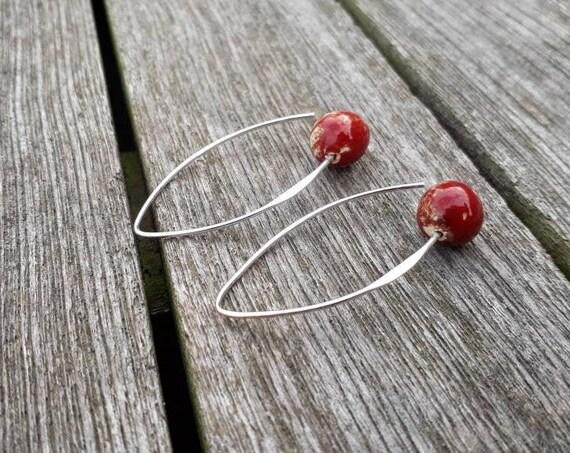 Long red earrings, handmade ceramic