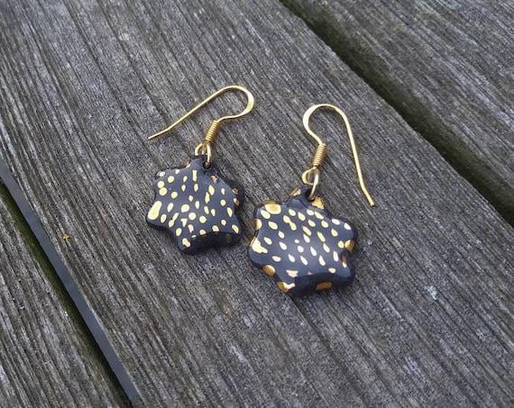 Black Porcelain flower gold spots earring