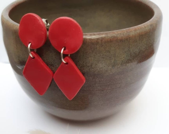 Long red ear sticks, porcelain red, real silver