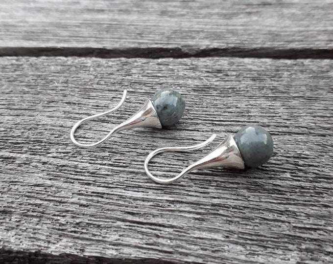 Grey earring: Long real silver earring with handmade grey ceramic bead