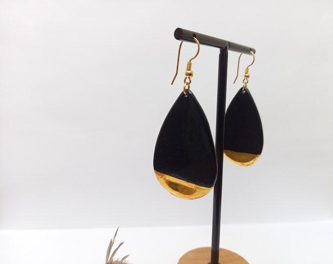 Drop tear long black gold porcelain ceramic earring