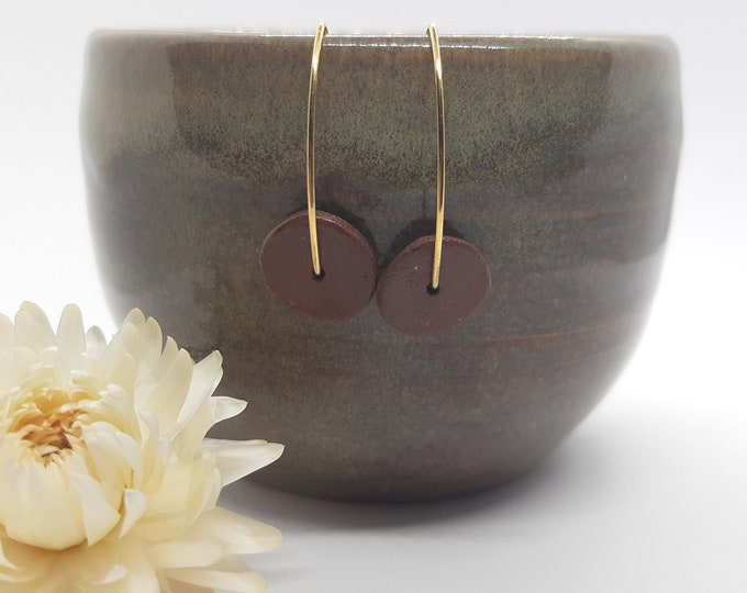 Brown gold porcelain ceramic earring