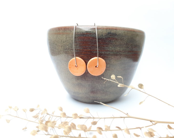 Earrings: handmade slice bead, orange