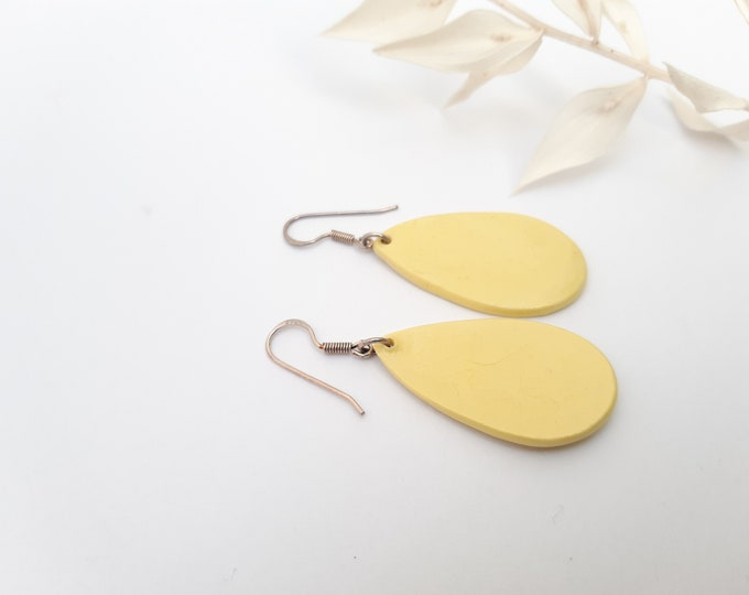 Pastel yellow drop pearl on real silver earrings