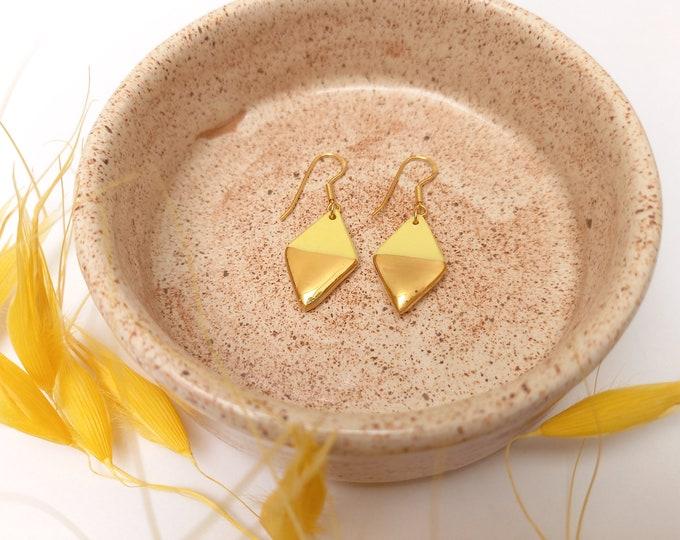 Handmade ceramic rhombus gold yellow porcelain earrings