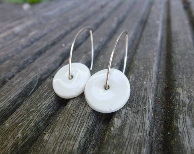 Earrings: Round  white ceramic pendant long earrings