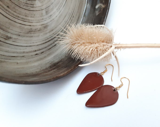 Brown long inverted teardrop shaped porcelain earrings on vermeil gold earrings.