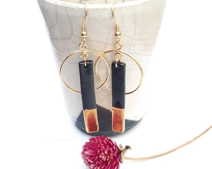 Rectangle long black gold porcelain ceramic earring