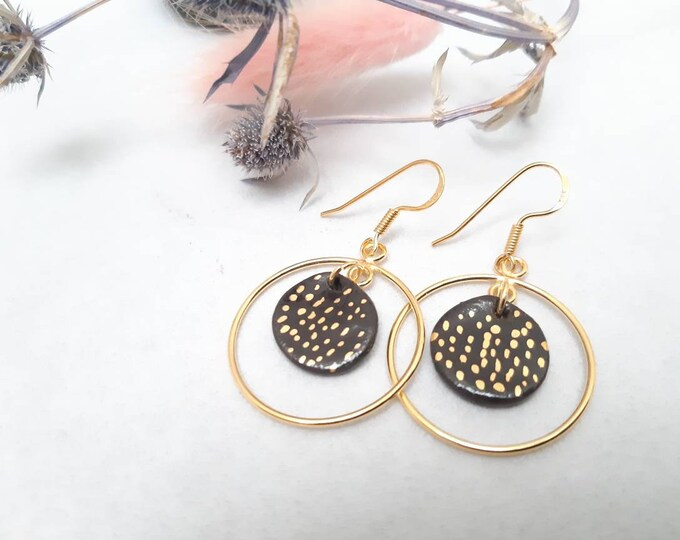 Long black gold earrings, black handmade porcelain pearls with gold dots