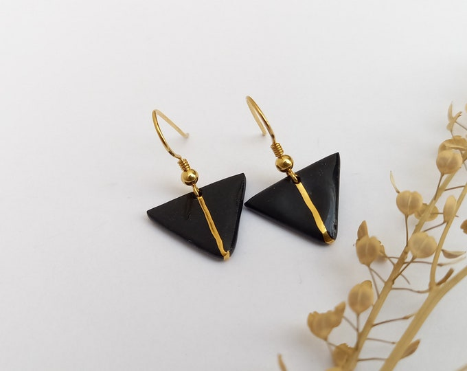 Black  golden earrings