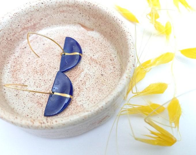 Blue gold fan-shaped porcelain/ceramic pearls on vermeil gold earhooks