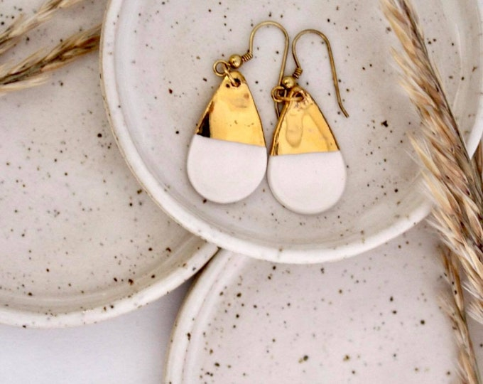 Drop tear long white gold porcelain ceramic earring