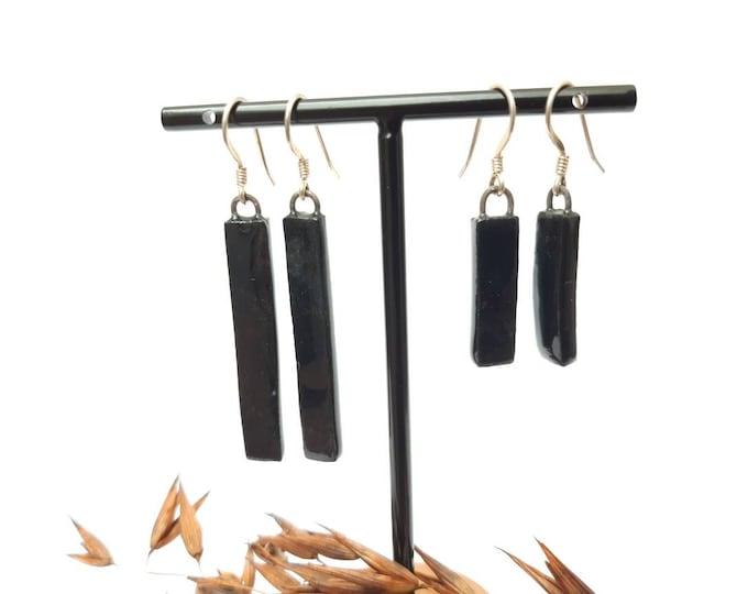 Handmade rectangle porcelain earrings black, short or long