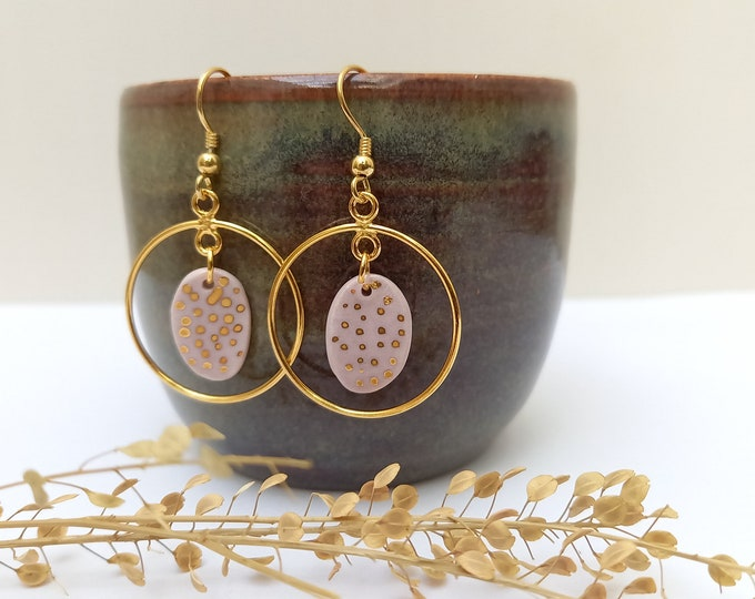 Long Light purple / pink  golden earrings