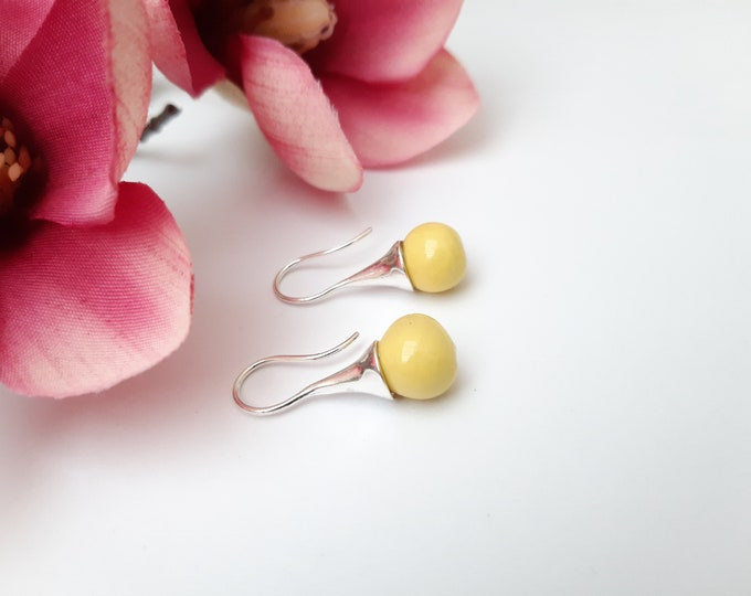 Yellow earring: Long real silver earring with handmade ceramic bead
