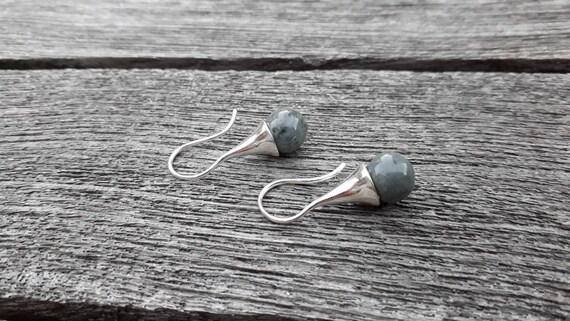 Grey earring: Long real silver earring with handmade grey ceramic bead