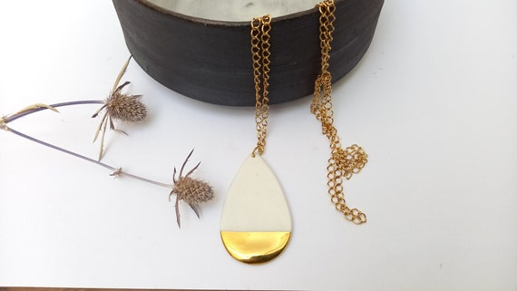 Gold white porcelain dropbead on gold long necklace
