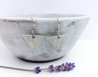 Earrings: handmade triangle bead, white black crackle