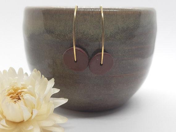 Brown gold porcelain ceramic earring