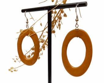 Ocher yellow mostard long porcelain oval ceramic earrings