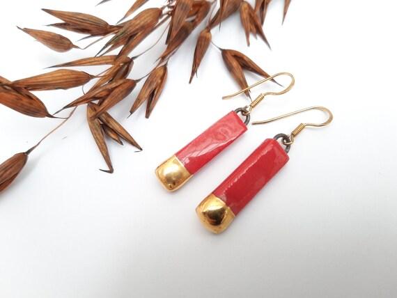 Rectangle long red gold porcelain ceramic earring