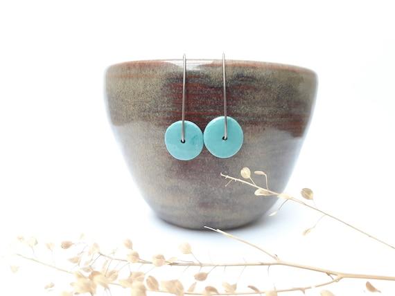 Light blue, sky blue, light blue turquoise round-shaped porcelain/ceramic pearls on genuine silver (AG925) earhooks