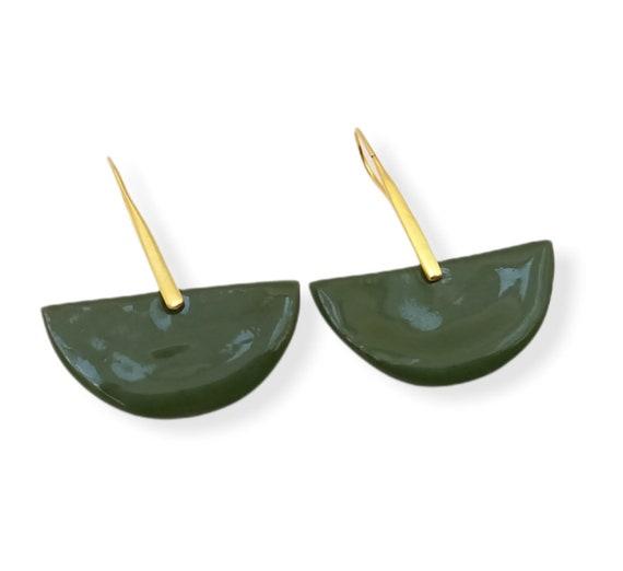 Green fan-shaped porcelain/ceramic pearls on vermeil gold earhooks