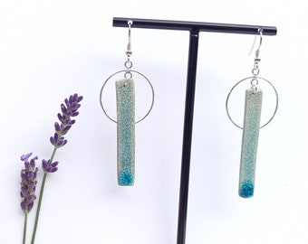 Rectangle long light blue craclé ceramic earring