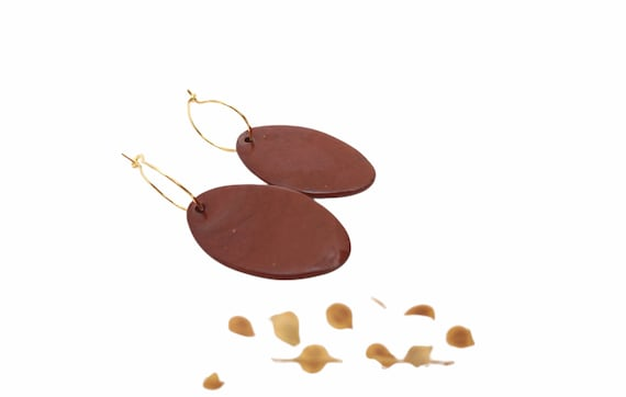 Brown long porcelain oval ceramic earrings, litlle gold creoles