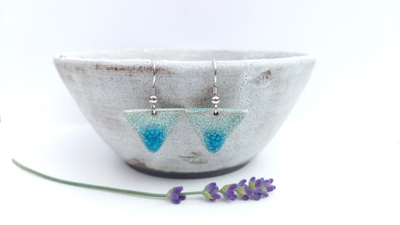 Earrings: handmade triangle bead, pastel blue black crackle
