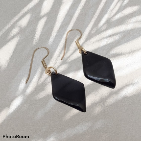 Rhombic black porcelain beads with real silver earhooks
