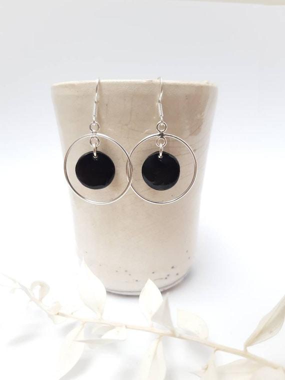 Long round black silver porcelainearrings, handmade ceramic