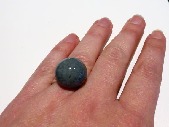 Grey hemisphere ring