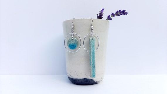 Assymetrique earrings, Handmade light blue raku black round porcelain earrings