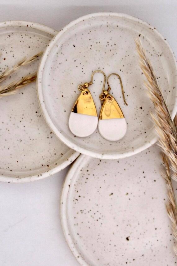 Drop tear long white gold porcelain ceramic earring