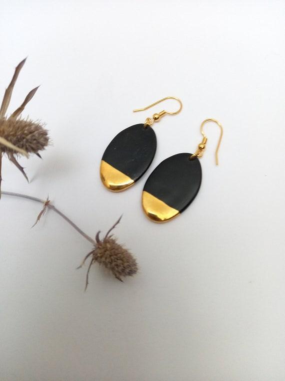 Oval long black gold porcelain ceramic earring