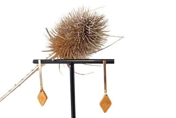 Ocher camel  glossy diamond-shaped ceramic earrings