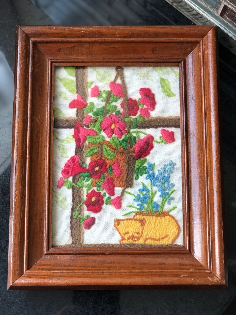 Vintage crewel embroidery framed flowers cat colorful flowers cat napping cat needlework vintage napping cat spring flowers needlepoint