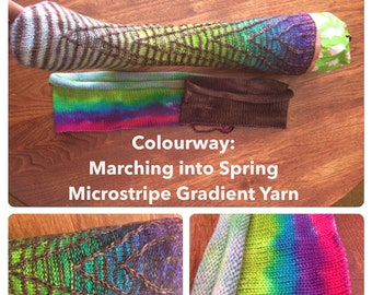 Ready to ship - Marching into Spring - self stripe sock yarn from a blank