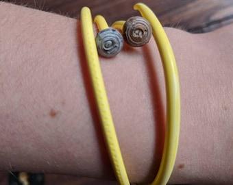 Knitters Bracelets - Yellow Skinny Plastic Knitting Needle Braclets