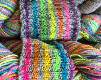 Ready to Ship - Self Striping Sock Yarn Electric Eleven