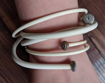 Knitters Bracelets - White Plastic Knitting Needle Braclets