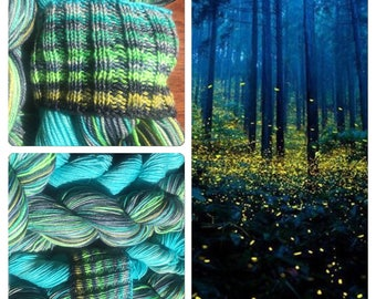 Ready to Ship - Fireflies Glowbugs Self Striping Sock Yarn