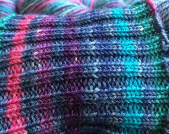 Lady Balls (original is lighter)- Self Striping Sock Yarn in thin stripe.