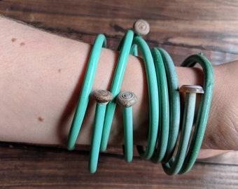 Knitters Bracelets - Green Plastic Knitting Needle Braclets