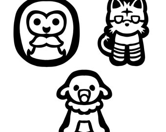 Pokemon Starter Outline Decals- Rowlet, Litten, Popplio