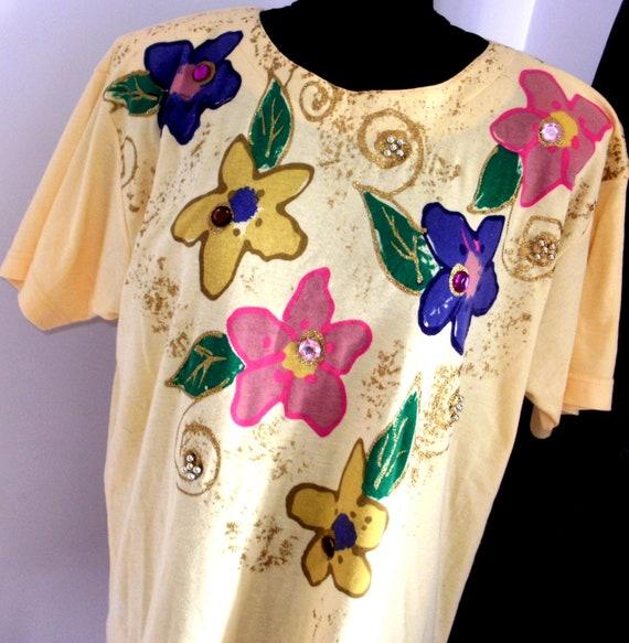 Vintage designer FRANK SAUL 80s Tshirt, Plus size… - image 3