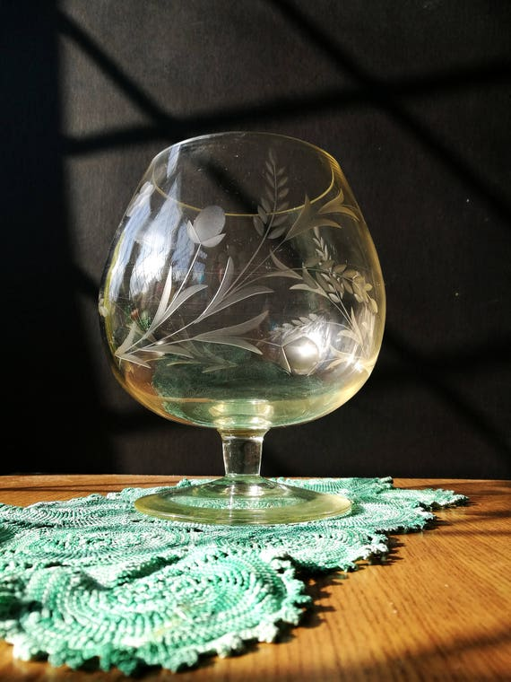 Etched Crystal Vase Crystal Brandy Glass Vase Etched With Etsy