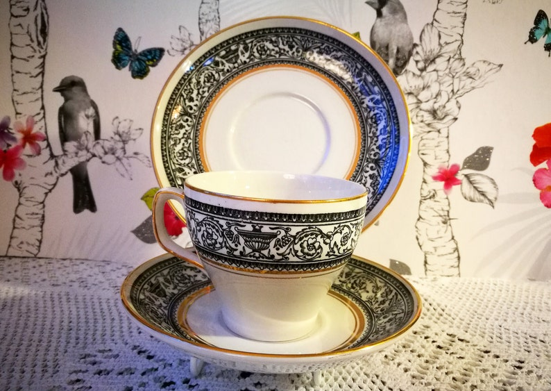English china tea cup   Black and White china trio   Antique china tea cup    Wood and Sons china Saracen pattern  Cup saucer and side plate