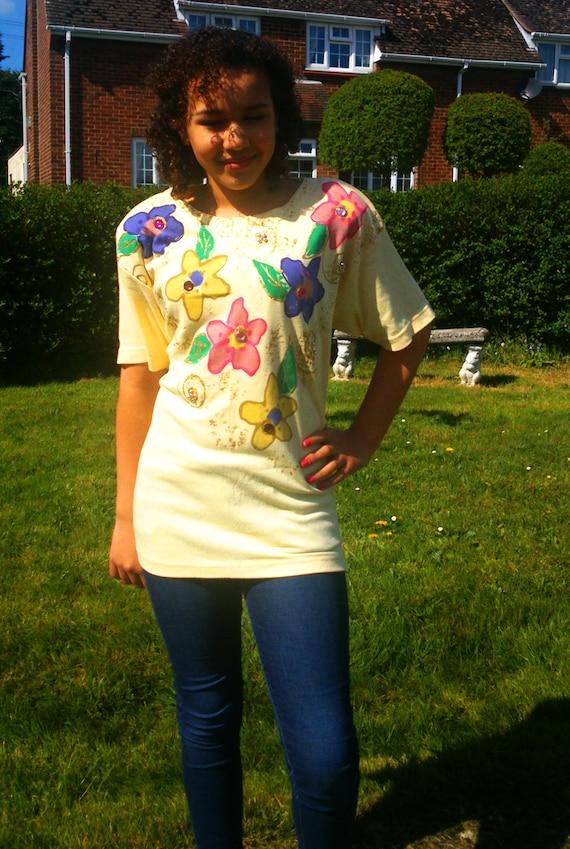 Vintage designer FRANK SAUL 80s Tshirt, Plus size… - image 1